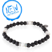 "Bracelet femme | Perles de laves et pierres ""black&white"" - Nouvelle collection"
